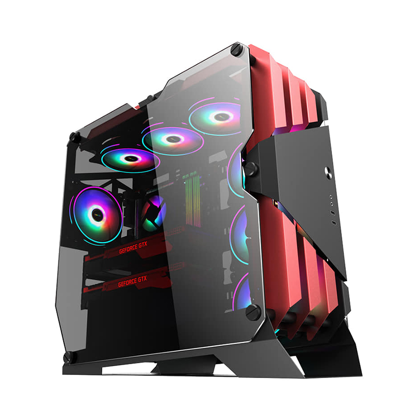 Vỏ case gaming SAMA TG-03 White/Blue/RED (Mid tower, kính cường lực, sẵn 6 fan RGB 12cm)