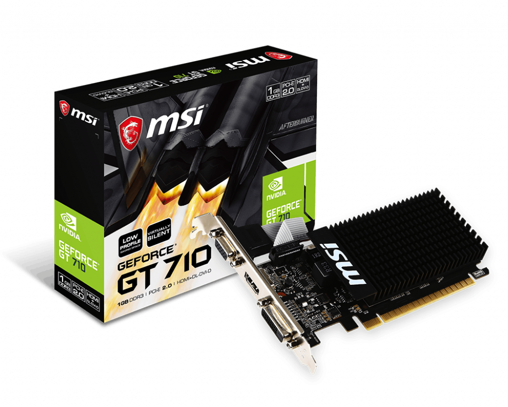 Card đồ họa VGA MSI Geforce GT 710 1GD3H LP (1GB GDDR3, 64-bit, DVI+HDMI)
