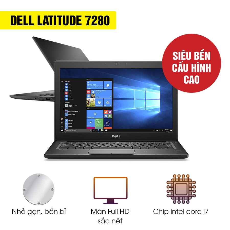Laptop Dell Latitude E7280 (Core i7 7600U, RAM 16GB, SSD 512GB, Intel HD Graphics 620, FullHD, ON, No-KeyLED, TOUCH, 12.5 inch)