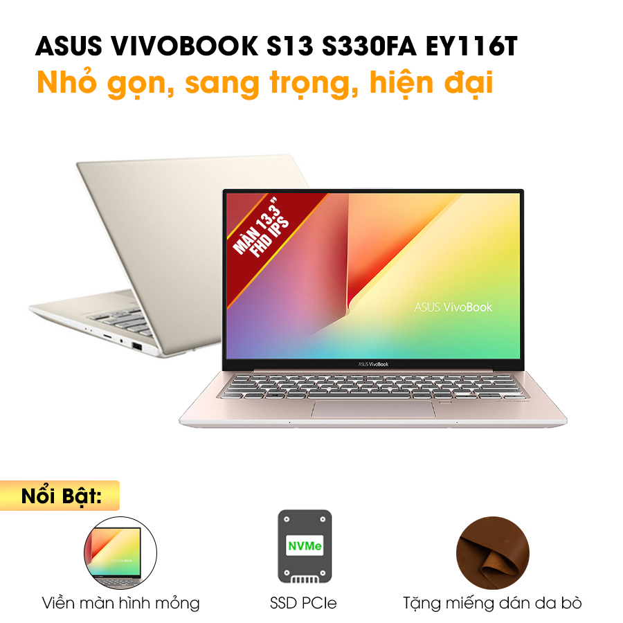 [Mới 100% Full box] Laptop Asus Vivobook S13 S330FA EY116T - Intel Core i5