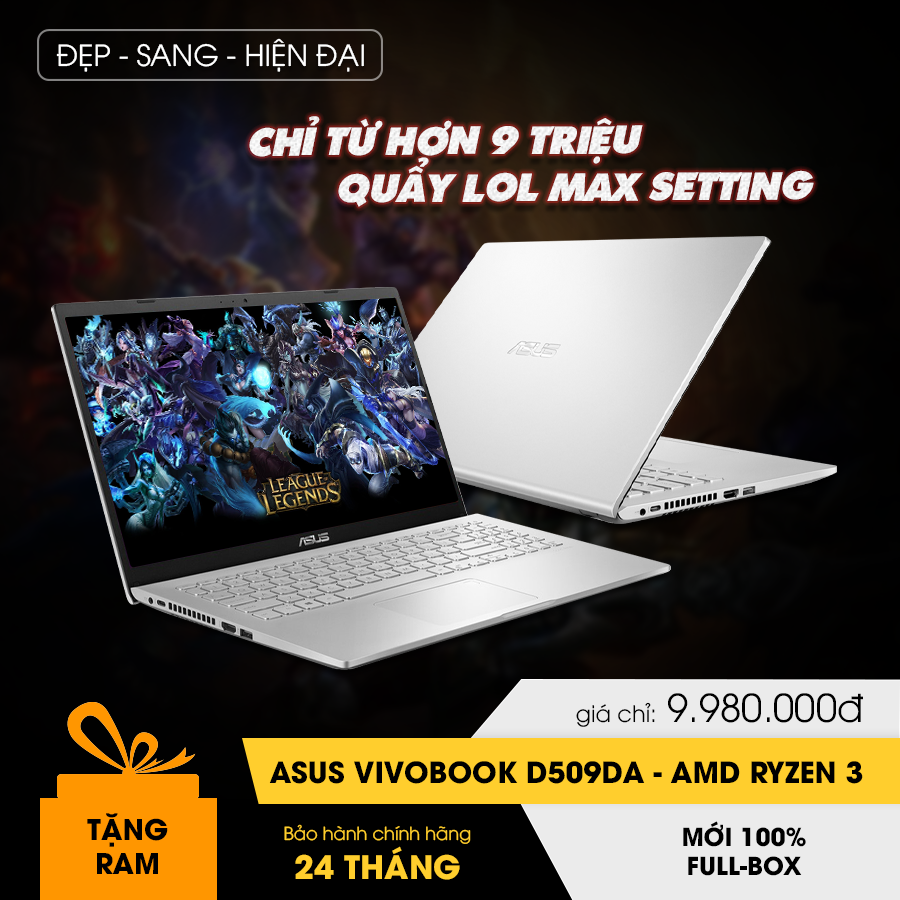 [Mới 100% Full Box] Laptop Asus Vivobook D509DA - AMD Ryzen 3