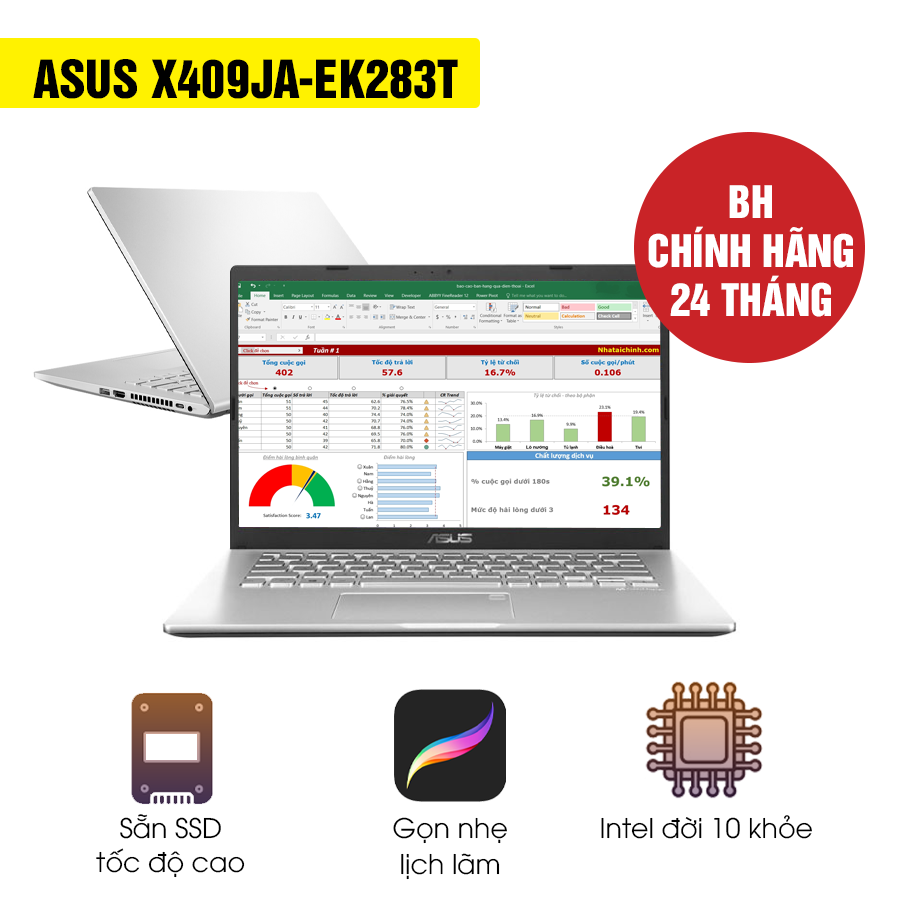 [Mới 100% Full Box] Laptop Asus X409JA-EK283T - Intel Core i3