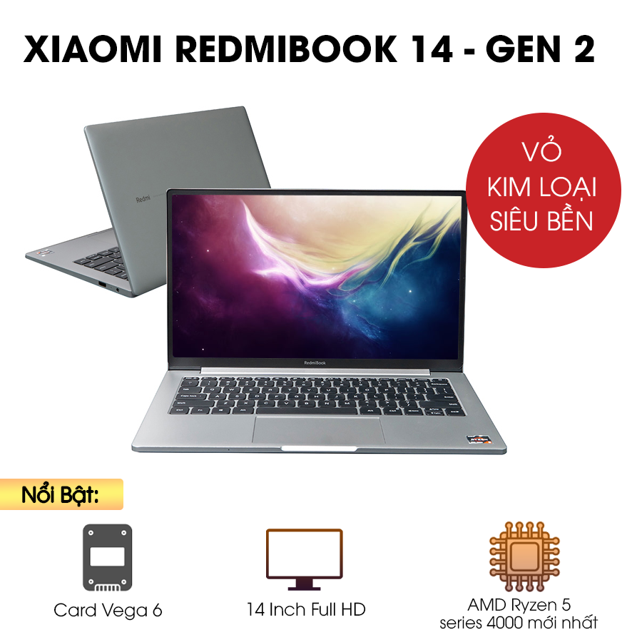 [Mới 100% Full Box] Laptop Xiaomi Redmibook 14 Gen 2 XMA2001-AN / AJ - AMD Ryzen 5
