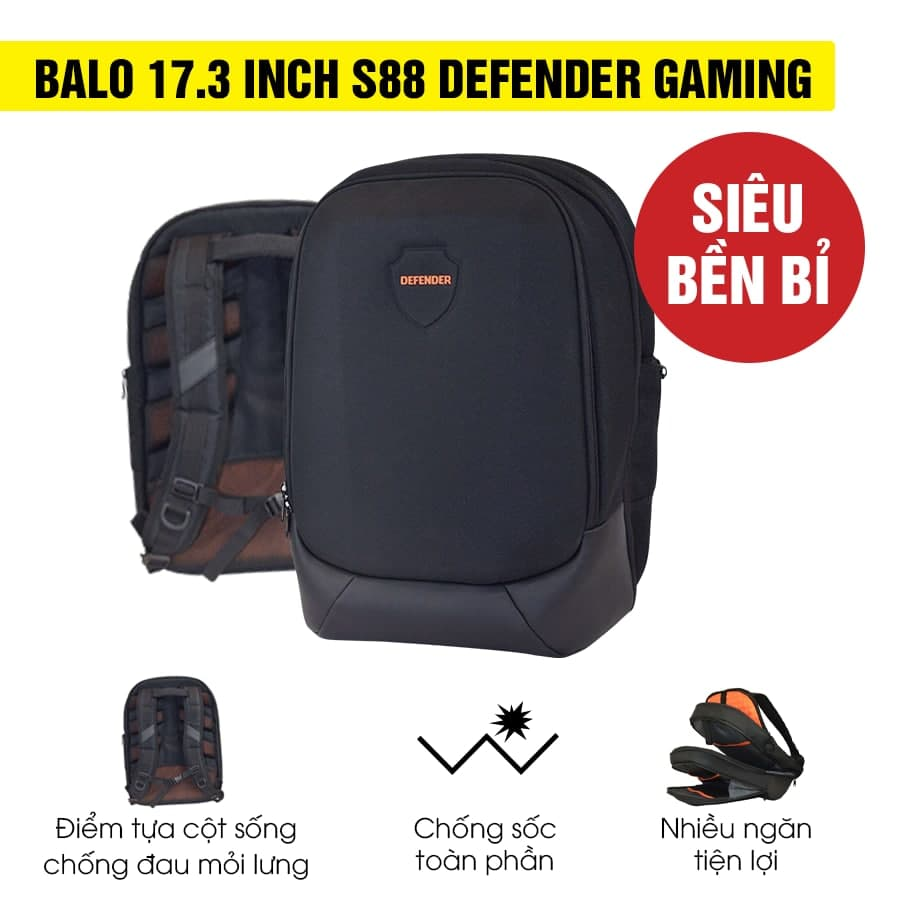 [Mới 100%] Balo 17.3 inch S88 Defender Gaming