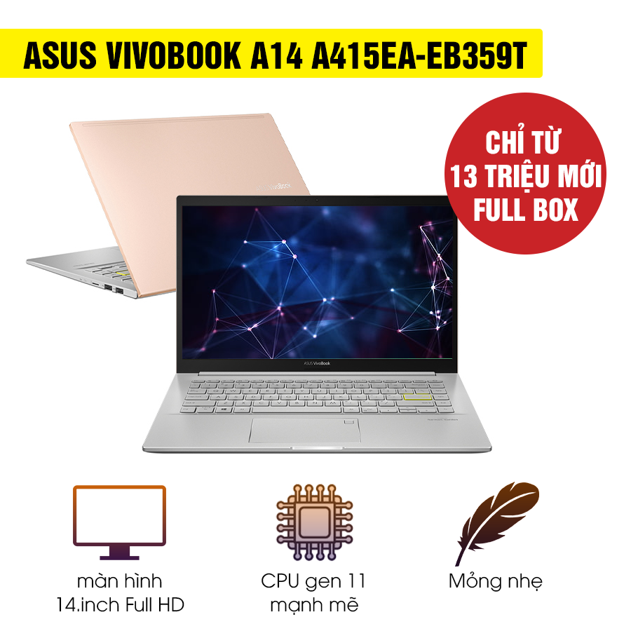 [Mới 100% Full Box] Laptop Asus Vivobook A14 A415EA-EB359T - Intel Core i3