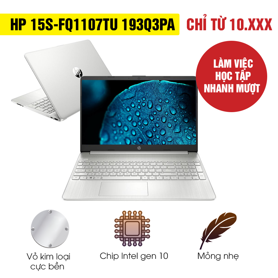 [Mới 100% Full Box] Laptop HP 15s-fq1107TU 193Q3PA - Intel Core i3